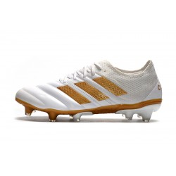 Chaussures de foot Crampons Adidas Copa 20.1 FG Knitting Low Blanc d'or