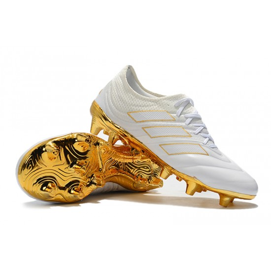 Chaussures de foot Crampons Adidas Copa 20.1 FG Knitting Blanc d'or