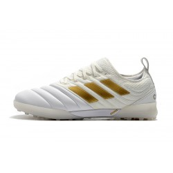 Chaussures de foot Adidas Copa 20.1 TF Knitting MD Blanc d'or