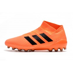 Laceless Chaussures de footCrampons Adidas Nemeziz 18 AG Orange Noir