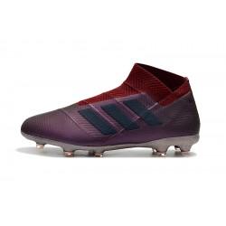 Chaussures de foot Crampons Adidas sans lacet Nemeziz 18 FG Vin rouge