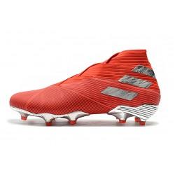 Chaussures de foot Crampons Adidas Nemeziz 19 FG Rouge Argent