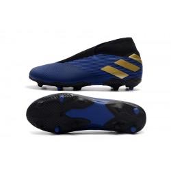 Chaussures de foot Crampons Adidas sans lacet Nemeziz 19.3 FG Bleu royal d'or