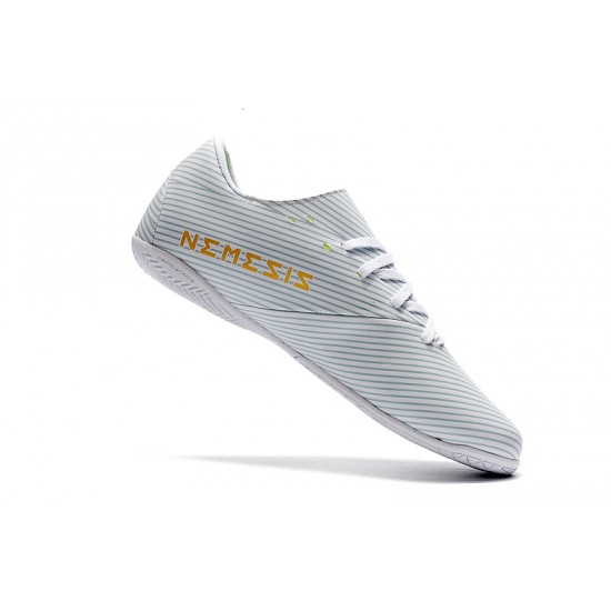 Chaussures de foot Adidas Nemeziz 19.4 IN Blanc d'or
