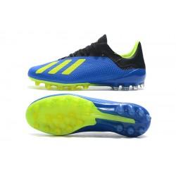 Chaussures de foot Crampons Adidas X 18.1 AG Bleu Vert Noir