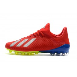 Chaussures de foot Crampons Adidas X 18.1 AG Rouge Blanc