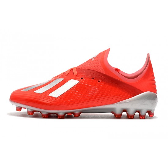 Chaussures de foot Crampons Adidas X 19.1 AG Rouge Argent
