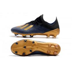 Chaussures de foot Crampons Adidas X 19.1 FG Noir d'or Bleu