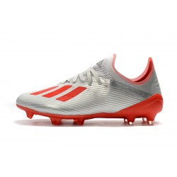 Chaussures de foot Crampons Adidas X 19.1 FG Argent Rouge