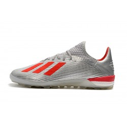 Chaussures de foot Adidas X 19.1 TF Argent Rouge