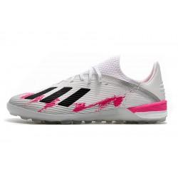 Chaussures de foot Adidas X 19.1 TF Blanc Rose Noir