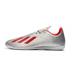 Chaussures de foot Adidas X 19.4 IC Argent Rouge