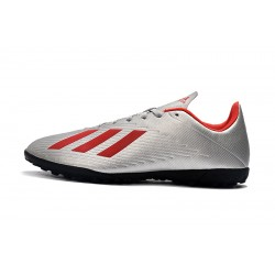Chaussures de foot Adidas X 19.4 TF Argent Rouge