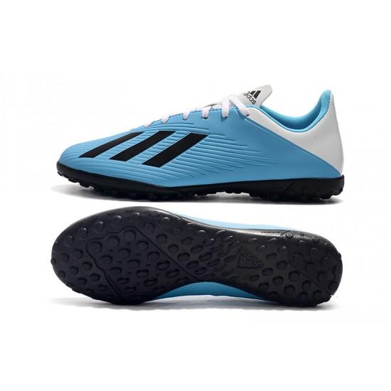 Chaussures de foot Adidas X 19.4 TF Blanc Bleu Noir