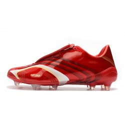 Chaussures de foot Crampons Adidas X F506 FG Tunit Laceless Rouge Blanc