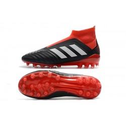 Chaussures de foot Crampons Adidas sans lacet Predator 18+AG Noir Blanc Rouge