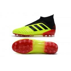 Chaussures de foot Crampons Adidas sans lacet Predator 18+AG Jaune Noir Rouge