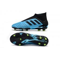 Chaussures de foot Crampons Adidas sans lacet Predator 19+ FG 25th Anniversaire Bleu Noir
