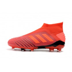 Chaussures de foot Crampons Adidas sans lacet Predator 19+ FG 25th Anniversaire Orange