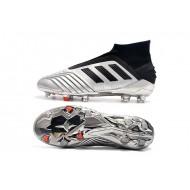 Chaussures de foot Crampons Adidas sans lacet Predator 19+ FG Argent Noir