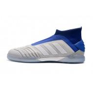 Chaussures de foot Adidas sans lacet Predator 19+ IN Gris Argent Bleu