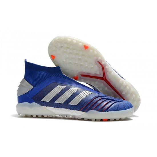 Chaussures de foot Adidas sans lacet Predator 19+ TF Bleu Argent