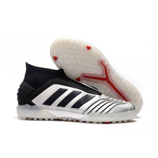 Chaussures de foot Adidas sans lacet Predator 19+ TF Argent Noir