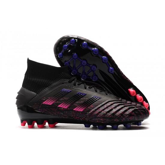 Chaussures de foot Crampons Adidas Predator 19.1 AG Noir Rose Bleu