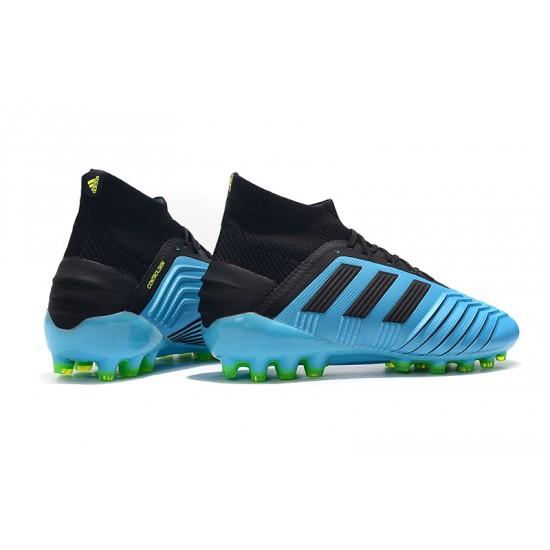 Chaussures de foot Crampons Adidas Predator 19.1 AG Bleu Noir