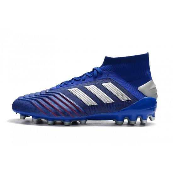 Chaussures de foot Crampons Adidas Predator 19.1 AG Bleu Argent