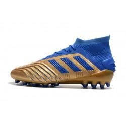 Chaussures de foot Crampons Adidas Predator 19.1 AG d'or Bleu