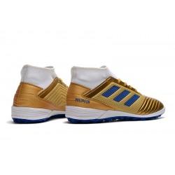 Chaussures de foot Adidas Predator 19.3 TF d'or Bleu Blanc