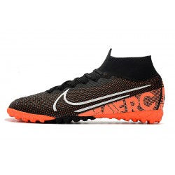 2020 Chaussures de footNike Mercurial Superfly 7 Elite MDS TF Flyknit Noir Orange