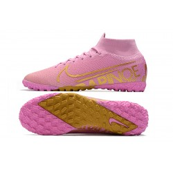 2020 Chaussures de footNike Mercurial Superfly 7 Elite MDS TF Flyknit Rose d'or