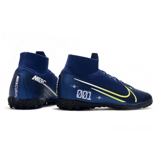 2020 Chaussures de footNike Mercurial Superfly 7 Elite MDS TF Flyknit Bleu royal
