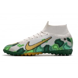 2020 Chaussures de footNike Mercurial Superfly 7 Elite MDS TF Flyknit Blanc d'or Vert