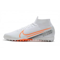 2020 Chaussures de footNike Mercurial Superfly 7 Elite MDS TF Flyknit Blanc Orange Argent