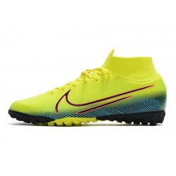 2020 Chaussures de footNike Mercurial Superfly 7 Elite MDS TF Flyknit Jaune Bleu