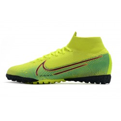 2020 Chaussures de footNike Mercurial Superfly 7 Elite MDS TF Flyknit Jaune Vert