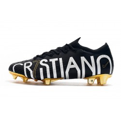 Chaussures de foot Crampons Nike Mercurial Vapor Fury VII Elite CR7 SE FG Noir Blanc d'or