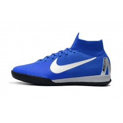 Chaussures de foot Nike SuperflyX 6 Elite IC Bleu Blanc