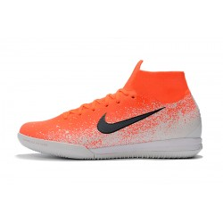 Chaussures de foot Nike SuperflyX 6 Elite IC Orange Blanc