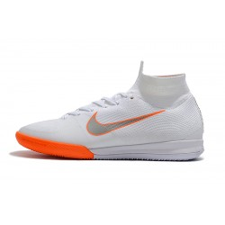 Chaussures de foot Nike SuperflyX 6 Elite IC Blanc Orange Argent