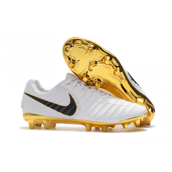 Chaussures de foot Crampons Nike Flyknit Tiempo Legend VII FG Blanc d'or