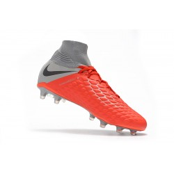 Chaussures de foot Crampons Nike Hypervenom Phantom III DF FG Football High Boots Orange Argent