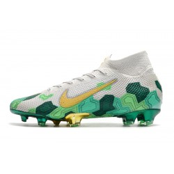 Chaussures de football Nike Mercurial Superfly 7 Elite FG Mbappe blanc vert Gold
