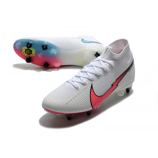 Chaussures de football Nike Mercurial Superfly 7 Elite Flyknit 360 SG-PRO AC blanc Rose Bleu