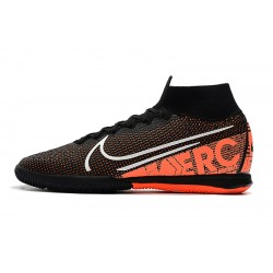 Chaussures de foot Nike Mercurial Superfly 7 Elite MDS IC Flyknit Noir Orange