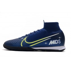 Chaussures de foot Nike Mercurial Superfly 7 Elite MDS IC Flyknit Bleu royal