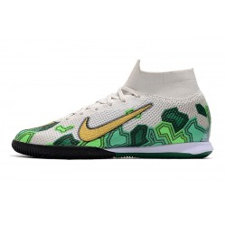 Chaussures de foot Nike Mercurial Superfly 7 Elite MDS IC Flyknit Blanc Vert